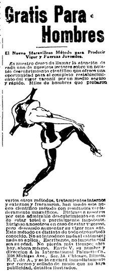 1922 - Remedio para la impotencia - Anuncio publicado en el Informador Guadalajara, Jalisco México