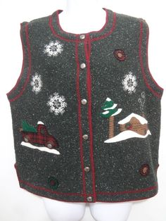 Woolrich Ugly Christmas Sweater Vest Gray Appliques Cabin Snow Truck Womens #Woolrich