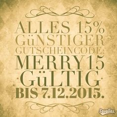 Alles 15% günstiger Gutscheincode: MERRY15  Gültig bis 07.12.2015.  http://www.savallas.com/#shop  All 15% cheaper Coupon Code: MERRY15  Expires 07/12/2015.