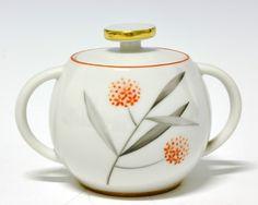 Sugar bowl by Nora Gulbrandsen for Porsgrund Porselen. Production 1928-35. Model 2205 Decor 8237
