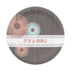 Wood + Lace Inspired Floral Baby Shower 7 Inch Paper Plate