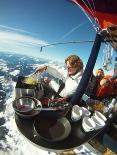 Culiair Luchtballon Restaurant, Netherlands. float above the Netherlands in a specially- equipped hot air balloon. Chef Angelique Schmeinck prepares dinner using the same heat keeping the balloon afloat!