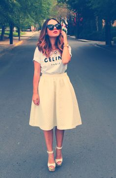 Such a cute outfit! Love the Celine Tee paired with a long A-line skirt