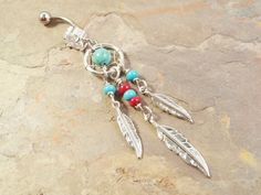 Sold by Piece Freedom Fashion Majestic Elegance Dream Catcher 316L Surgical Steel Belly Button Ring