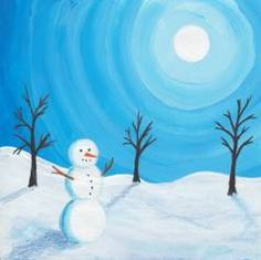 Art And Craft Shows, 2nd Grade Art, Winter Art Projects, Winter Painting, Step By Step Painting, Mini Paintings, Christmas Paintings, Learn To Paint, Winter Scenes