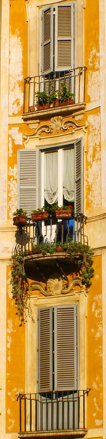 Window in Italy....reminds me of the windows with flowers hanging out of them all over Italy, and particularly in Venice.