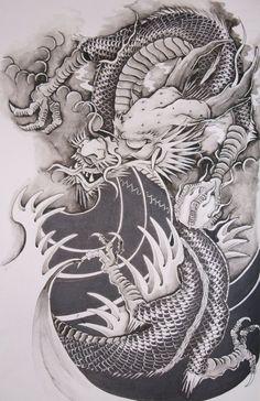 Drawn chinese dragon oriental dragon #732