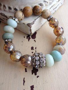 Bohemian Vintage Deco Mixed Rhinestone Gemstone Layering Stretch Bracelet