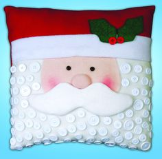 Design Works Embroidery Kit - Santa Button Pillow How cute is the Santa Cushion Kit?! It is decorated with buttons all over Santa's beard :) You can buy the full kit that includes everything you need to make this pillow on our website here; http://www.minervacrafts.com/dw-5190-design-works-embroidery-kit-santa-button-pillow.html Start now and you should have it finished for Christmas :)