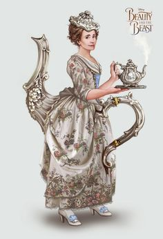 """My concept art for the wonderful Emma Thompson as Mrs. Potts in Disney's Beauty and the Beast film coming out in 2017. This design really started out as a """"what if"""" idea about the placement of her..."""