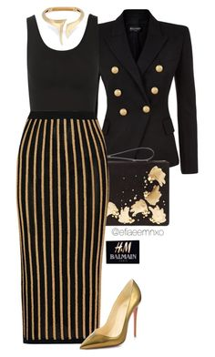 """HMBALMAINATION"" by efiaeemnxo ❤ liked on Polyvore featuring Balmain, Yummie by Heather Thomson and Christian Louboutin"