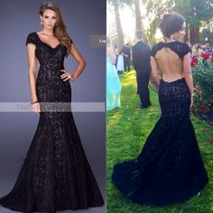 2015 Formal Dresses Mermaid Long Black Lace Open Back