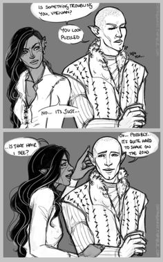 Solas isn't actually bald, he's just a fastidious shaver. Given long enough there'd be some LOTR kinda hair going on there.