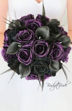 Plum Davids Bridal Wedding Bouquet with plum roses, black roses, black calla lil. - Plum Davids Bridal Wedding Bouquet with plum roses, black roses, black calla lilies and black feath - Black Wedding Dresses, Purple Wedding, Dream Wedding, Wedding Day, Black Weddings, Black Wedding Decor, Gothic Wedding Ideas, Purple Christmas Wedding, Halloween Wedding Flowers