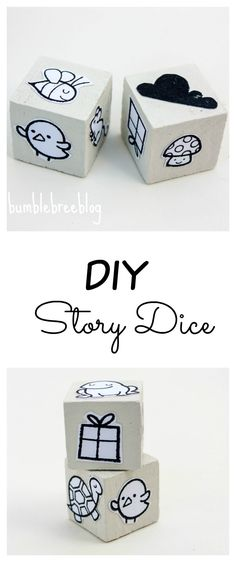 Create you own story dice to help you stay inspired or inspire your little one to use their imagination to create stories of their own.
