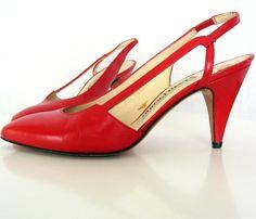 Cherry Red High Heels Vintage Designer Evan Picone by retrogroovie, $26.00