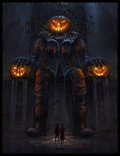 I love Halloween.and pumpkins Halloween Artwork, Halloween Drawings, Halloween Pictures, Creepy Halloween, Halloween Wallpaper, Halloween Horror, Vintage Halloween, Gothic Fantasy Art, Halloween Greetings