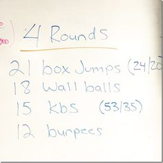21 box jumps 18 wall balls 15 kbs 12 burpees  Repeat x4