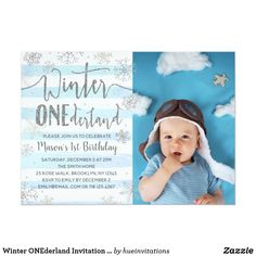 Winter ONEderland Invitation Boy Blue Silver