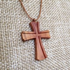 Hand Carved Hardwood ApricotTree Pendant Maltese Cross - wood pendant, natural jewelry, organic jewelry, pendant, necklace pendant, cross by VanDenArt on Etsy