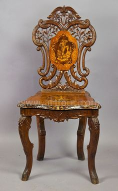 a carved and inlaid walnut chair with musical work, swiss 1900 Art Chair, Carved Chairs, Fantasy Furniture, Furniture, Art Deco Furniture, Vintage Chairs, Iron Decor, Luxury Home Furniture, Walnut Chair