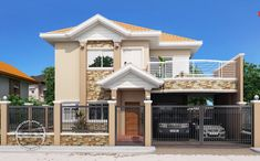 Modern Bungalow House Design With Three Bedrooms - Ulric Home Two Story House Design, 2 Storey House Design, House Plans Design, 4 Bedroom House Plans, New House Plans, Modern Bungalow House Design, Modern Houses, Double Storey House, Traditional House Plans