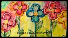 mixed media art collage: sole fiori colori