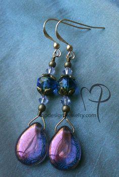 Violet Teardrop Brass Earrings