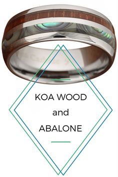 Wedding Bands for Him and Her! -->>8mm Handcrafted Koa Wood Ring With Half Abalone and Crafted out of Tungsten