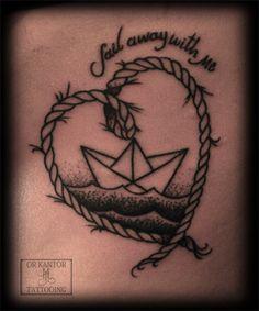 Or Kantor - Tattooist in Israel (Treasure Tattoo) |  Paper boat heart tattoo #paperboattattoo #orkantor