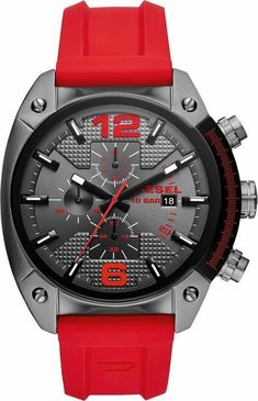 #mode #ootd #outfit #fashion #style #online #DIESEL Herren Chronograph OVERFLOW, DZ4481 anthrazit, rot | 04053858972360