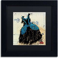 Trademark Fine Art Black n Blue Swirls Canvas Art by Roderick Stevens, Black Matte, Black Frame, Size: 11 x 11