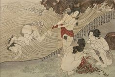 Diving and Resting Amas by Kunisada