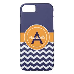 Dark Blue Orange Chevron iPhone 8/7 Case #chevron #iphone #cases #protectiion