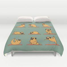 Duvet Cover - Pug Yoga - Huebucket