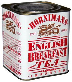 Horniman's English Breakfast Tea tin ... white with red lettering, dragon logo in gold, square w/ inset lid