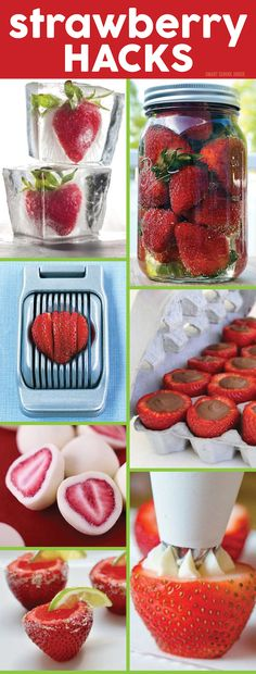 Strawberry Hacks - strawberry ice cubes, DIY chocolate strawberries, cream filled strawberry recipe, and more ideas!