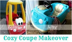 Little Bits of Sunshine: Cozy Coupe (Little Tikes) Makeover Little Tikes Redo, Little Tykes Car, Little Tikes Makeover, Little Tikes Playhouse, Diy Crafts For Kids, Projects For Kids, Diy Projects, Cozy Coupe Makeover, Diy Toys Car