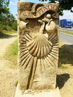 Borne-coquille du chemin de Compostelle de Santiago de Compostela