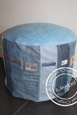 Ronde poef van old jeans in combinatie met deken. Made by A-leebel.nl