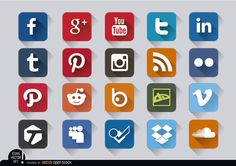Square embossed icons set of most popular social media with respective colors; perfect to use in websites or printed material. High quality JPG included. Under Commons 4.0. Attribution License.