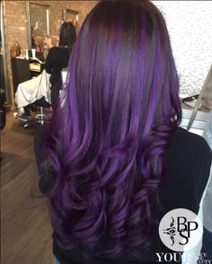Purple balayage done by Angela and blowout by Mery
