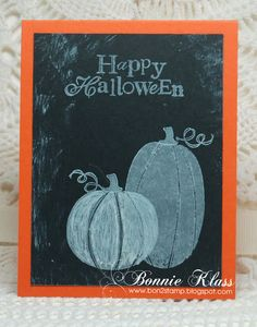 handmade Halloween card from Stamping with Klass: Ghostly Pumpkins ... chalkboard technique ... great card look ...