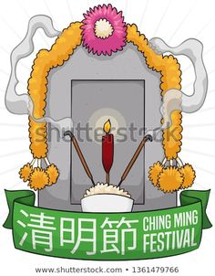 Tombstone with traditional offerings for the ancestors during Ching Ming -or Qingming- Festival (written in Chinese calligraphy): bowl with rice, incense sticks, candle and flower wreaths. Chinese Writing, Samhain Halloween, Chinese Calligraphy, Incense Sticks, Flower Wreaths, Candles, Traditional, Christmas Ornaments, Holiday Decor