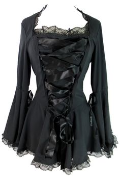 Plus size Victorian Gothic Steampunk Bell Sleeves Ribbon Lace Top