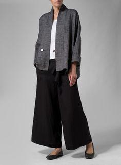 Flattering V-neckline Linen Cotton Drop-Shoulder Jacket Dark Charcoal