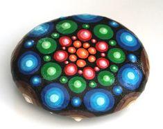 Dot Art Mandala, Mandala Design Rock, Hand Painted Rock, Painted Beach Rock, Boho Decor, Yoga Gifts, Flower Pot Decor, Window Sill Decor