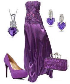 Grape satin dress n bling