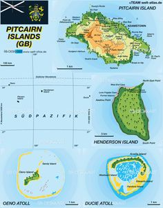 Map of Pitcairn Islands (Island in United Kingdom) Islands In The Pacific, Pacific Ocean, East Point, British Overseas Territories, Island Map, Pitcairn Islands, Country Maps, Historical Maps, Small Groups