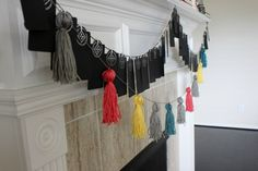 Colorful Spring/Summer Mantel Decor & DIY Tag Garland #Tassels #Stripes #ColorDripCandles